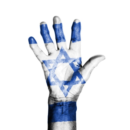 Hand of an old woman, wrapped with a pattern of the flag of Israel, isolated on white photo