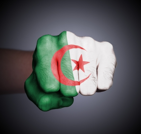 Front view of punching fist on gray background, flag of Algeria photo