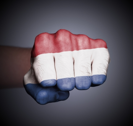 Front view of punching fist on gray background, flag of Holland Stock Photo - 17387823