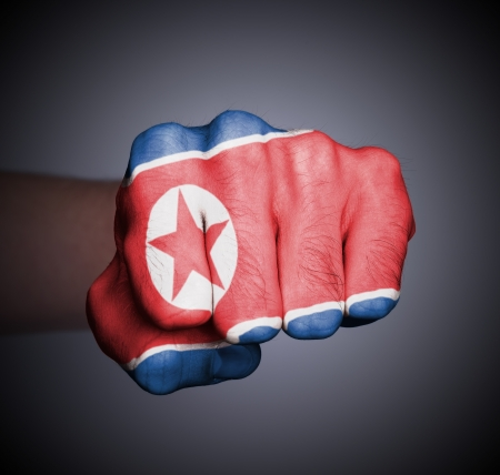 Front view of punching fist on gray background, flag of North Korea Stock Photo - 17387803