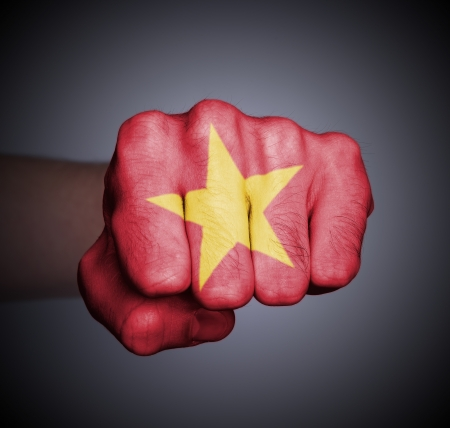 Front view of punching fist on gray background, flag of Vietnam Stock Photo - 17387815
