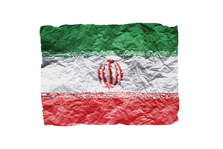 Close up of a curled paper on white background, print of the flag of Iran photo