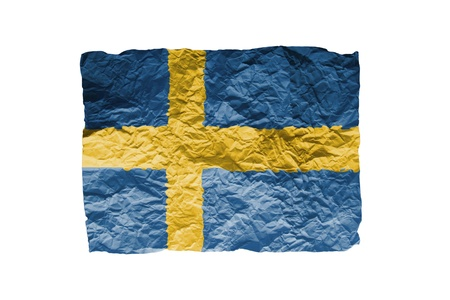 Close up of a curled paper on white background, print of the flag of Sweden Stock Photo - 17461712