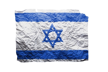 Close up of a curled paper on white background, print of the flag of Israel Stock Photo - 17461736