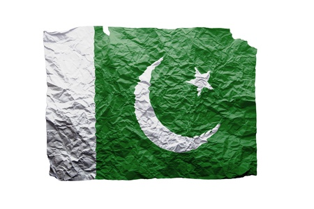 clipart wrinkles: Close up of a curled paper on white background, print of the flag of Pakistan
