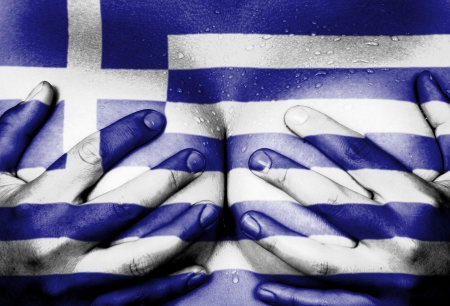 Sweaty upper part of female body, hands covering breasts, flag of Greece
