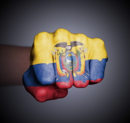 Front view of punching fist on gray background, flag of Ecuador