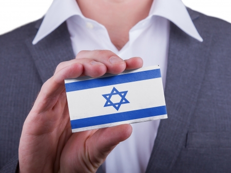 matte: Businessman showing card, matte paper effect, Israel Stock Photo
