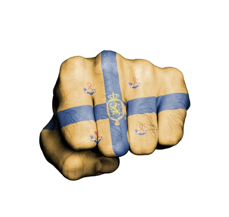 Front view of punching fist on gray background, banner of the kingdom of the Netherlands Stock Photo - 17632674