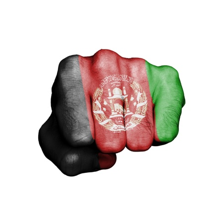Front view of punching fist, banner of Afghanistan Stock Photo - 17632687