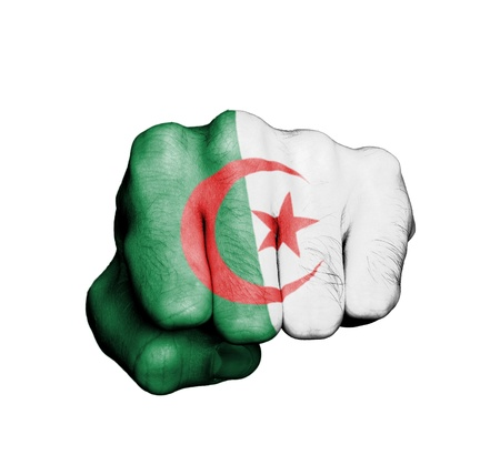 algerian flag: Front view of punching fist, banner of Algeria