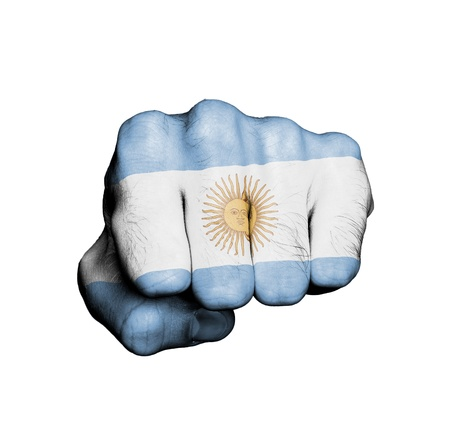 Front view of punching fist, banner of Argentina Stock Photo - 17632677