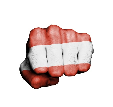 Front view of punching fist, banner of Austria Stock Photo - 17632680