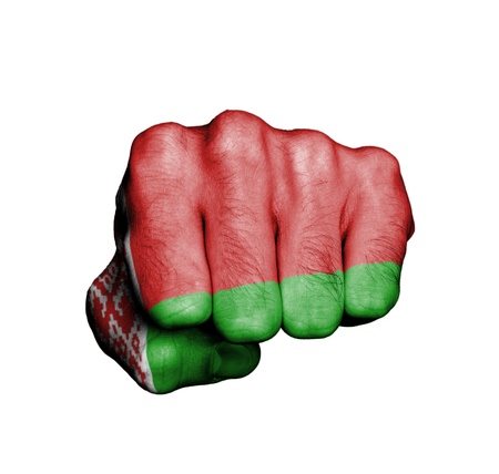 Front view of punching fist, banner of Belarus Stock Photo - 17632692