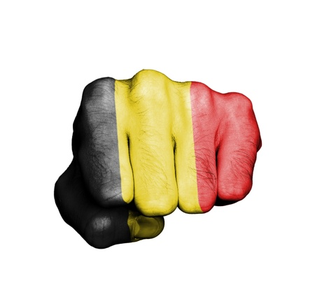Front view of punching fist, banner of Belgium Stock Photo - 17632685