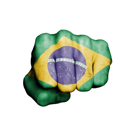 Front view of punching fist, banner of Brazil Stock Photo - 17632688