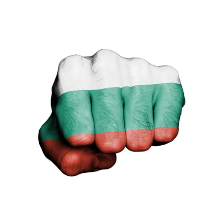 Front view of punching fist, banner of Bulgaria Stock Photo - 17632681