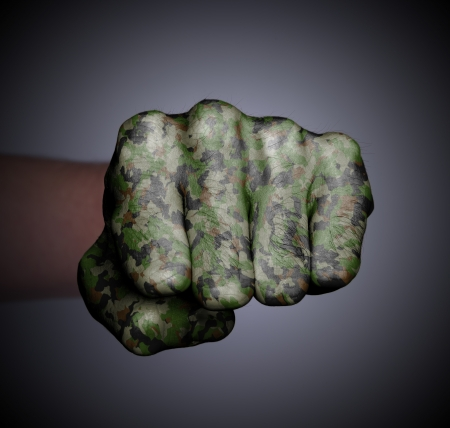 Front view of punching fist on gray background, camouflage photo