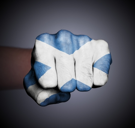 scotish: Front view of punching fist, banner of Scotland