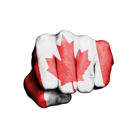 Front view of punching fist, banner of Canada photo