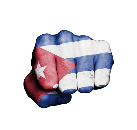 Front view of punching fist, banner of Cuba Stock Photo - 17632696