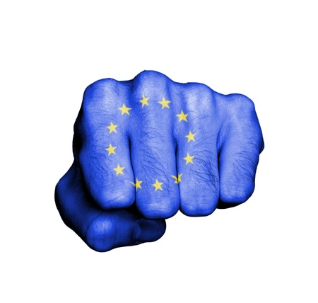 Front view of punching fist, banner of the EU Banco de Imagens