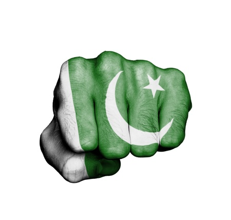 Front view of punching fist, banner of Pakistan