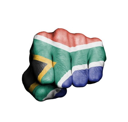 Front view of punching fist, banner of South Africa Stock Photo - 17632700