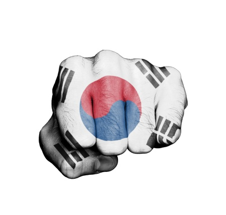Front view of punching fist, banner of South Korea Stock Photo - 17632695