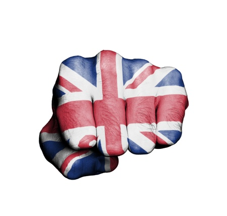 Front view of punching fist, banner of England Stock Photo - 17632699
