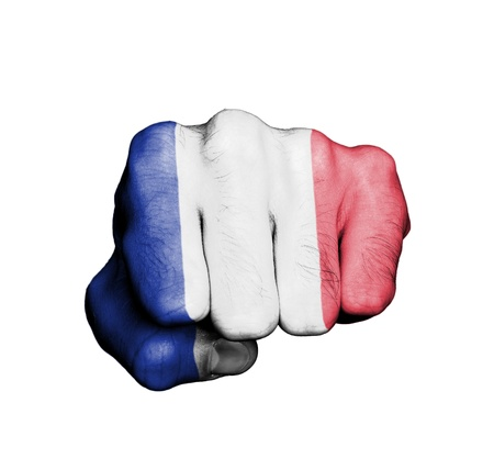Front view of punching fist, banner of France photo