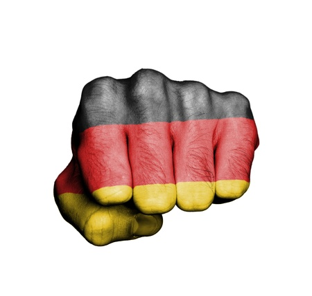 Front view of punching fist, banner of Germany