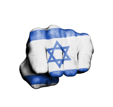 Front view of punching fist, banner of Israel Stock Photo - 17632719