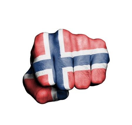 norwegian flag: Front view of punching fist, banner of Norway