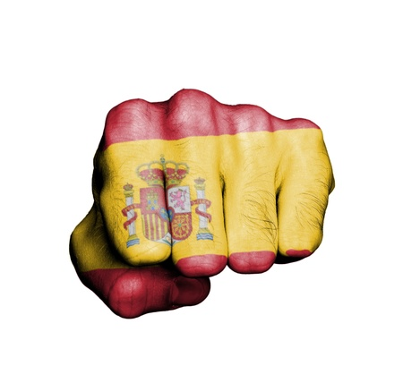 Front view of punching fist, banner of Spain