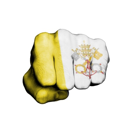 Front view of punching fist, banner of Vatican City