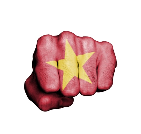 Front view of punching fist, banner of Vietnam Banco de Imagens