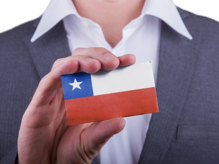 matte: Businessman showing card, matte paper effect, Chile Stock Photo