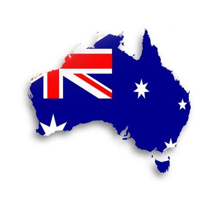 flag australia: Australia map with the flag inside, isolated