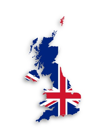 bandera uk: Mapa del Reino Unido de Gran Bretaña e Irlanda del Norte con la bandera nacional, aislado Foto de archivo