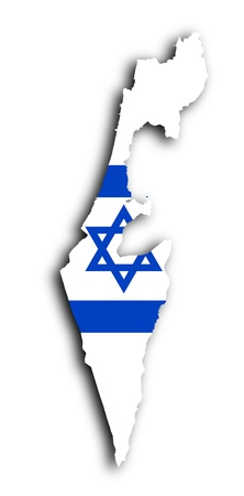 Israel map with the flag inside, isolated photo