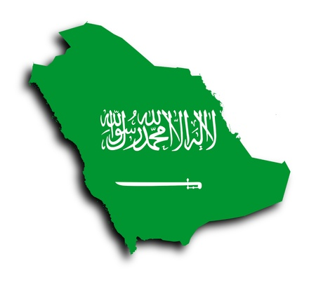 shire: Saudi arabia map filled with flag, isolated Stock Photo