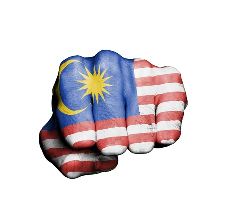 Front view of punching fist, banner of Malaysia Stock Photo