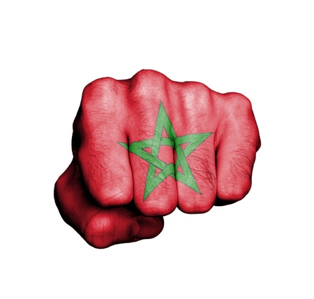 Front view of punching fist, banner of Morocco