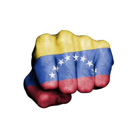 Front view of punching fist, banner of Venezuela