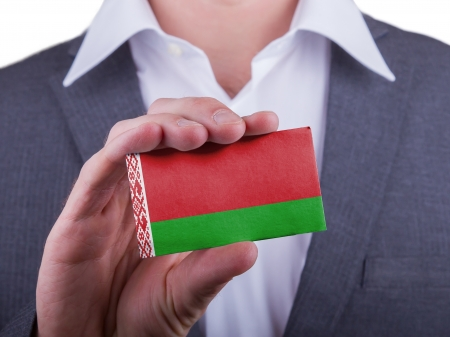 matte: Businessman showing card, matte paper effect, Belarus
