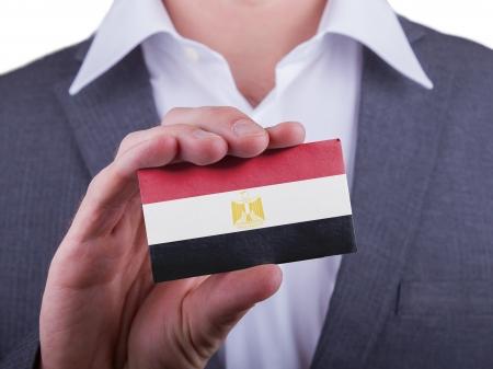 matte: Businessman showing card, matte paper effect, Egypt