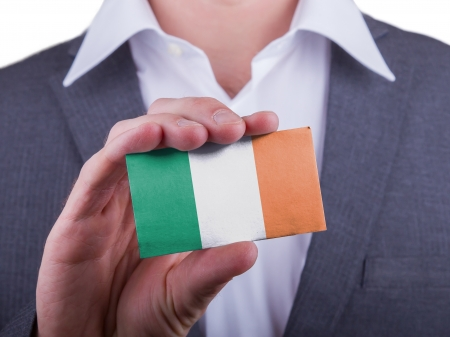 matte: Businessman showing card, matte paper effect, Ireland