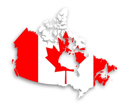 canada flag: Canada map with the flag inside, isolated Stock Photo
