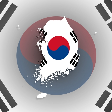 Map of South Korea with flag inside, isolated photo